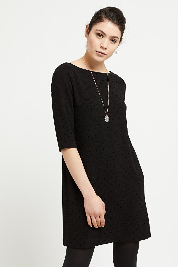 Ottod'ame Flock Dot Dress NAVY